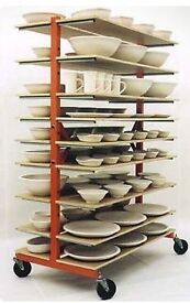 Pottery studio drying shelving on wheels, ceramic, clay, bisque, glazing,