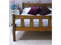 Solid Pine 5ft king size Bed Frame, Aztec Wax finish, with Thick Gold Ortho Mattress. Free delivery