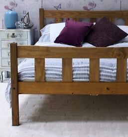 A stylish 5ft king size bed frame, solid pine, aztec wax finish. Free delivery