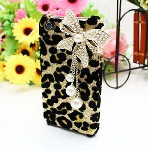 XH Bling Deluxe Leopard Pearl Bow Case Skin Cover Etui For iPhone 4 4S [F4]