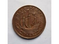 Old Half Penny King George VI 1945
