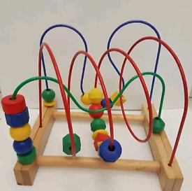 IKEA MULA WOODEN BEAD ROLLER COASTER TOY