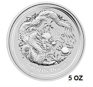 2012 lunar dragon 5 oz silver bullion coin Perthmint