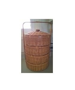 Vintage Chinese 4 Tier Bamboo Wicker Wedding Basket