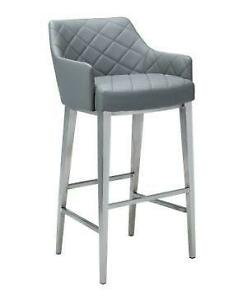 Leather Bar Stool Counter Stool in Grey Black and White