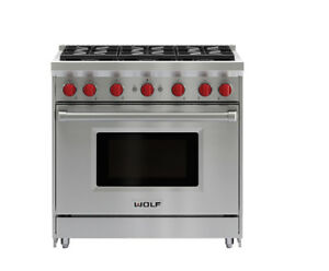 "WOLF 36"" STAINLESS STEEL GAS RANGE - GR366"