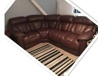 REDUCED AGAIN FOR QUICK SALE large brown real leather corner sofa& chair (leather couch)
