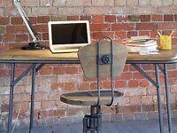 Designer Industrial Style Workbench, Reclaimed pine/Industrial Steel, Foldable