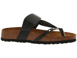 New Betula By Birkenstock Womens Cork Thong Sandals Black Gold