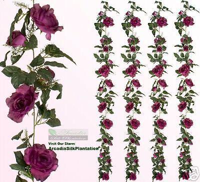 4 Artificial 6' Rose Garland Silk Flowers Plant 813BU 4 Artificial Christmas Garland