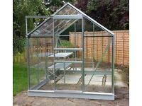 ALUMINIUM GREENHOUSE APPROX 8 FOOT X 8 FOOT, ALL GLASS INCLUDED