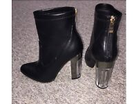 Size UK 5- Brand New- Faux Leather Ankle Boot with Chrome and Perspex heel