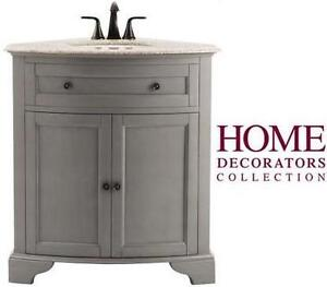 NEW HDC HAMILTON CORNER VANITY - 122278652 - HOME DECORATORS COLLECTION GREY CABINET GRANITE TOP BATHROOM BATH CABINETS