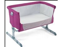 Chicco Next 2 baby crib - Very Good Condition - (pink) Used for a couple of months