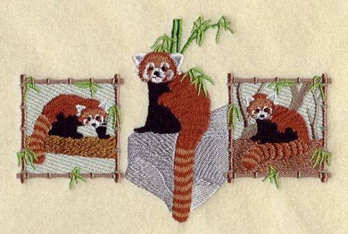 Embroidered Fleece Jacket - Red Panda Trio A4488 Sizes S - XXL