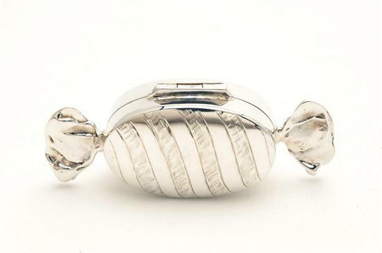 Sterling silver Pill Box shaped like a piece of Candy