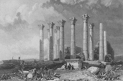 Jordan  Gerasa Gergesha Jerash Temple Zeus Artemis   1836 Art Print Engraving