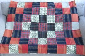 HOMEMADE PATCHWORK THROW - McTARTAN £15 - Ideal Present for over a Sofa, Chair or Bed