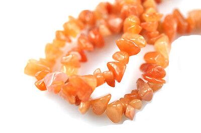 Red Aventurine Chip Stone Beads 36 Inch Strand