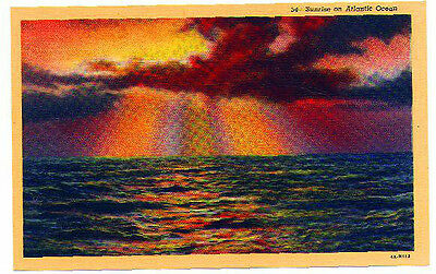 Sunrise on Atlantic Ocean Atlantic City NJ linen postcard unused (Atlantic City Nj Postcard)