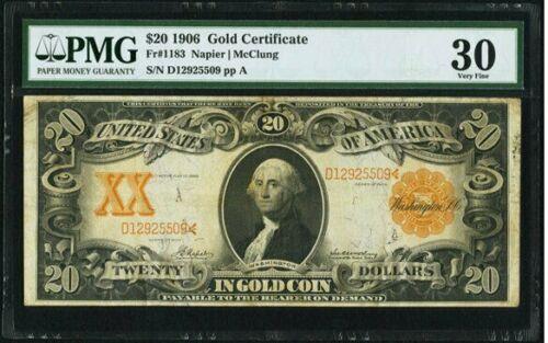 $20 1906 Fr# 1183 * GOLD CERTIFICATE * PMG Very Fine 30  VF30
