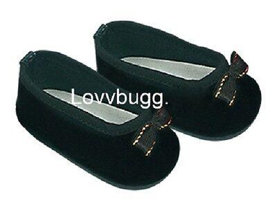 "Lovvbugg Black Velvet Bow Ballet for 18"" American Girl or Bitty Baby Doll Shoes Clothes"