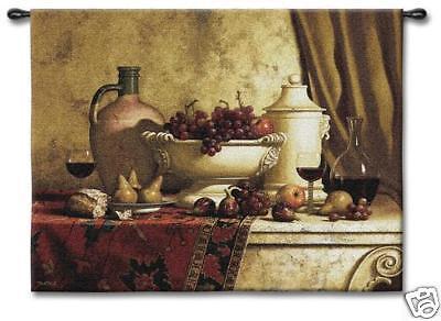 Italian Feast Still Life Wall Tapestry Grape & Wine 53