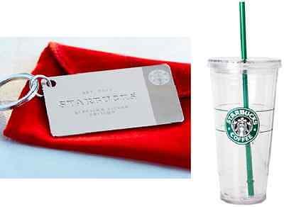 NIB Starbucks STERLING SILVER Gift Card KEY CHAIN ORIGINAL Logo VENTI Cold CUP - $195.00
