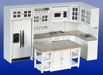 Casa de Muñecas Miniatura Cocina Conjunto 8 Con / Microondas - 1:12...