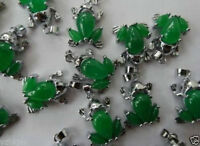 HOT!!!!  Rare Natural green jade Carved frog pendant necklace