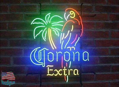 """Corona Extra Parrot Palm Tree Neon Sign 20""""x16"""" From USA"""