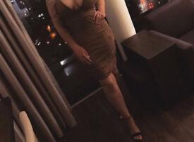 Boohoo Suede Effect Bodycon Size 12 Midi Plunge Dress