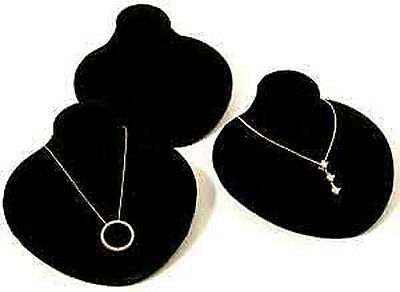 3 New Black Velvet Jewelry Display Bust Pendants Necklaces Neck Forms
