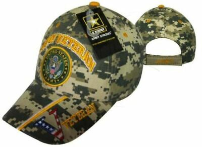 Official US Army Licensed Army Veteran & Emblem Digital Camo Cap Hat