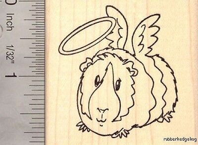 Angel Guinea Pig Rubber Stamp, with Halo Halloween, Cute H16012 WM ()