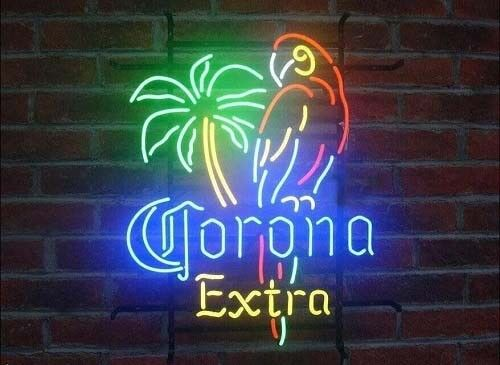 New Corona Extra Parrot Bird Left Palm Tree Neon Light Sign