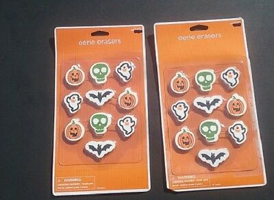 HALLOWEEN TARGET EERIE ERASERS MIXED LOT 20 = 2 Pks X 10 TRICK OR TREAT FAVORS - Halloween Erasers Bulk