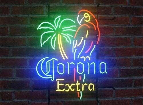 "New Corona Extra Parrot Neon Sign 20""x16"" Beer Bar Artwork Real Glass Handmade"