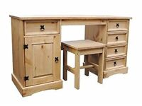 CORONA DOUBLE 5 DRAWER 1 DOOR DRESSING TABLE WITH STOOL