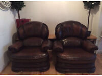 Vintage French Armchairs / Club Chairs x 2