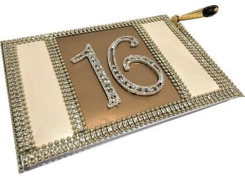 Sweet 16 or Mis Quince Anos Guest Book with Rhinestone Trim Number Guest Book