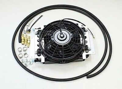 "New Aluminum external transmission fluid oil cooler with 10"" Electric fan towing"