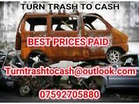 SCRAP CARS / VANS /MOTORCYCLES WANTED FAST PAYMENT AND COLLECTION