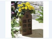 House shaped rustic garden planter