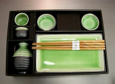 Sushi Sake Sets - Sushi Plate & Sake Set Tea Green Color