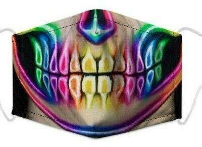 Wiederverwendbar Neon Totenkopf Gesicht Halb Maske Filter Mode Schutz Mund Hülle