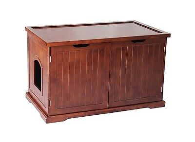 Cat's  Litter Box X- Large Cover Bench Wooden Furniture Walnut