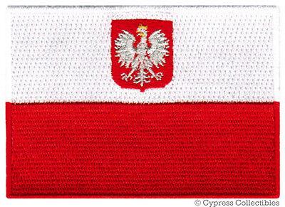 POLAND FLAG embroidered iron-on PATCH POLISH new POLSKA APPLIQUE SOUVENIR (Applique Embroidered Flag)