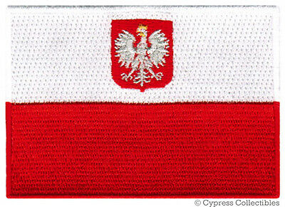 POLAND FLAG embroidered iron-on PATCH POLISH new POLSKA APPLIQUE SOUVENIR EMBLEM