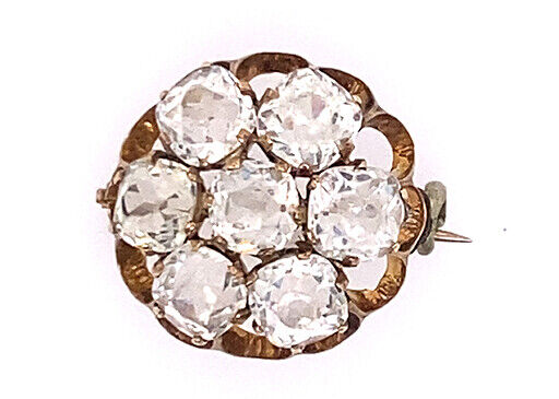 Vintage White Sapphire Pin Brooch 3.5ct Old Mine Cut 14K Gold Antique Victorian